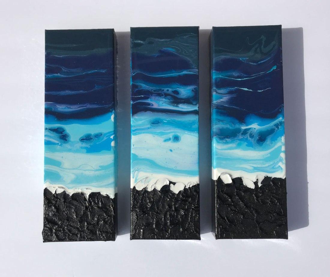 Ocean_Triptych_fluid_art_Black_Lava